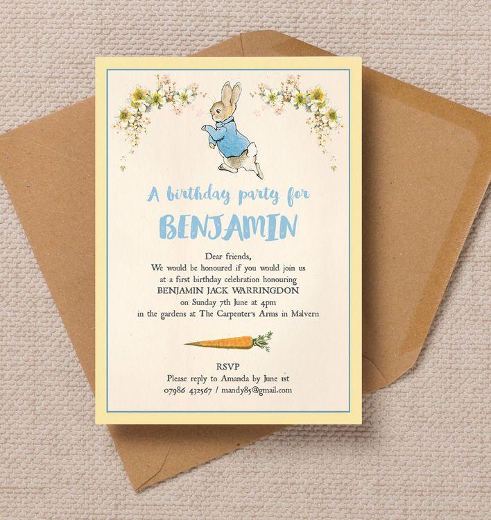 Beatrix Potter Peter Rabbit Party Invitation | Kids birthday party ...