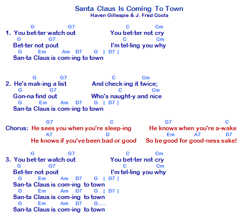 Santa Claus Is Coming To Town Lyrics And Chords Ukulele Songs Santa Claus Is Coming To Town