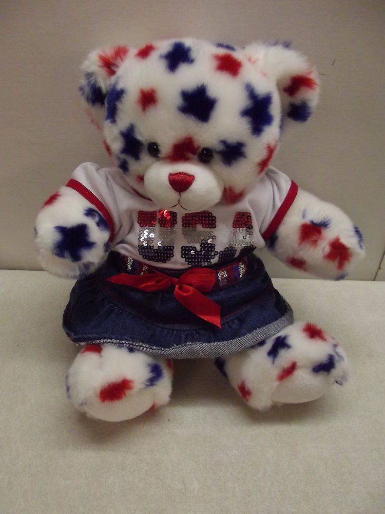 """DRESS 4TH JULY PATRIOTIC WHITE w// RED+BLUE STARS+TRIM for 16/"""" CPK Cabbage Patch"""