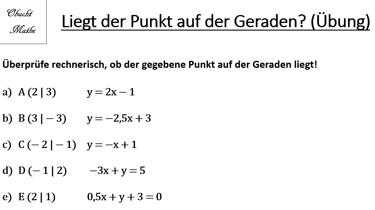 Liegt der Punkt auf der Geraden - Punktprobe - lineare Funktionen ...
