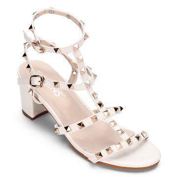 8e734a5cbf8 White T-bar Design Rivets Embellishment Block Heel Gladiator Sandals ...