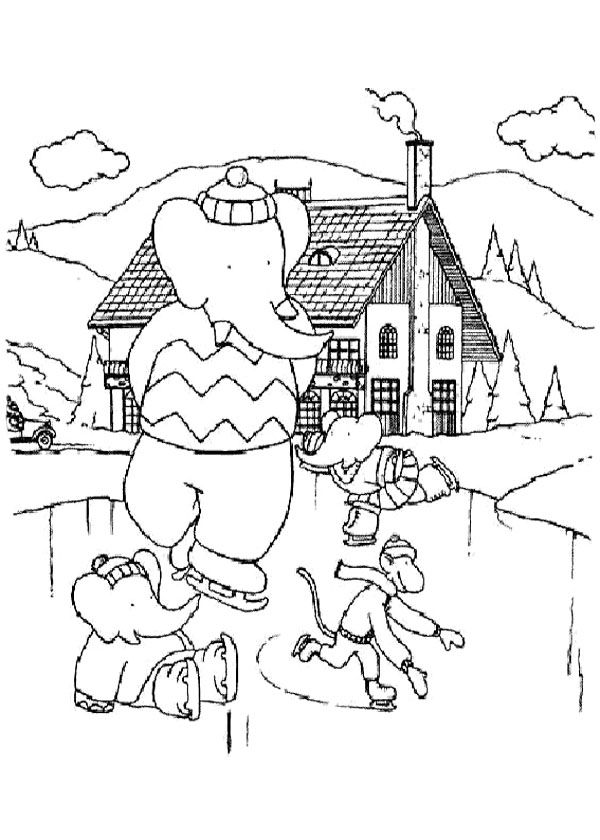 Babar Playing Ice Skating With Son Coloring Page