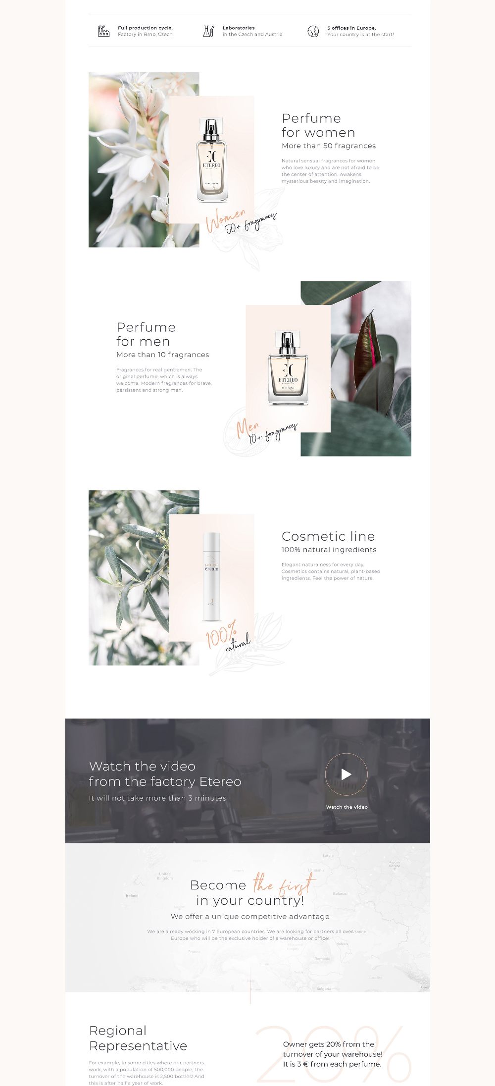 Landing Page For Franchise Perfumery Company Etereo On Behance In 2020 Landing Page Webpage Design Perfumery