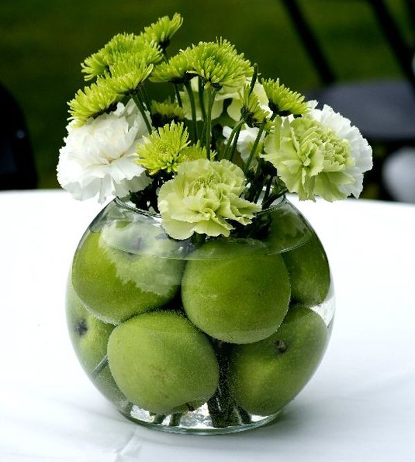 Centre de table pomme mariage deco decoplante pinterest art floral - Vase plat centre de table ...