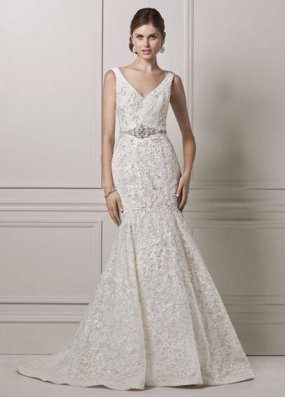 Oleg Cassini Tank Lace and Deep V Wedding Dress CWG621   I Love It ...