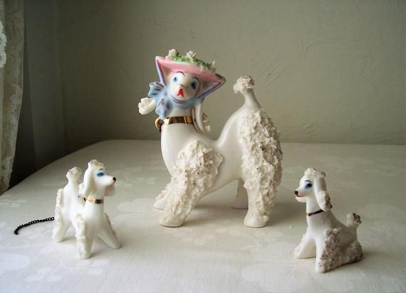 vintage poodle porcelain dog set of three momma and baby puppy figurine trio 1950s 1960s knick knack #knickknack