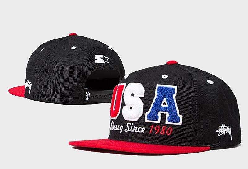 6f944f339d2 Men s Stussy x Starter Team Stussy Crafted USA Stussy Since 1980 Baseball Snapback  Hat - Black   Red