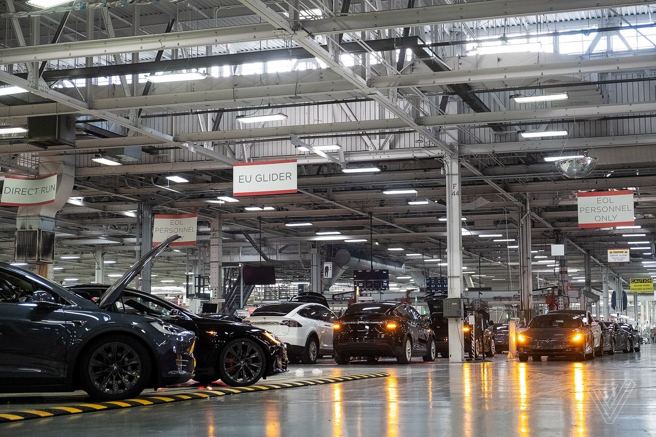 Some Tesla factory employees still had to work after the