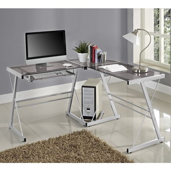 Contemporary Glass And Metal L Shaped Desk House Pinterest