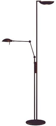 Holtkoetter Halogen Torchiere With Reading Swing Arm Hand Brushed Old Bronze