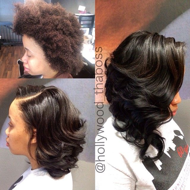 Asymmetrical Long Curly Bob Sew In On Natural Hair No