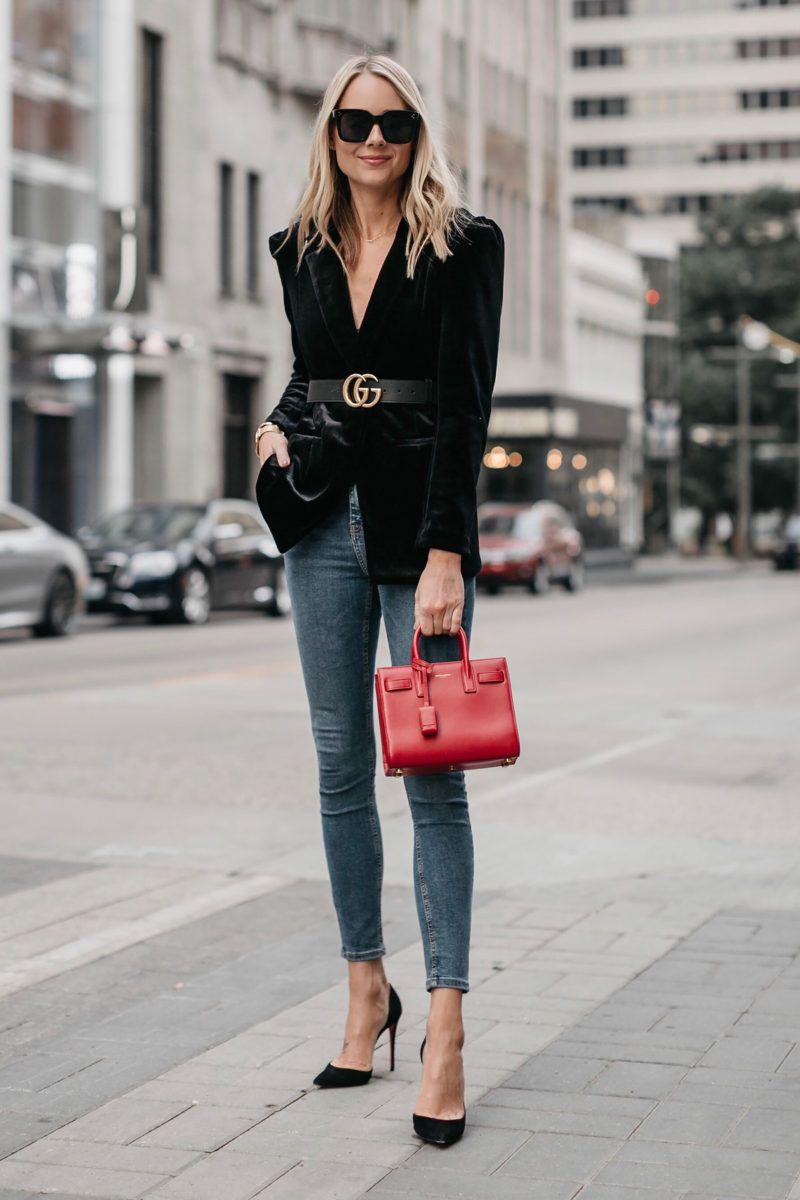 97306d06804 Blonde Woman Wearing Black Velvet Blazer Gucci Marmont Belt Denim Skinny  Jeans Black Pumps Saint Laurent Red Sac De Jour Fashion Jackson Dallas  Blogger ...