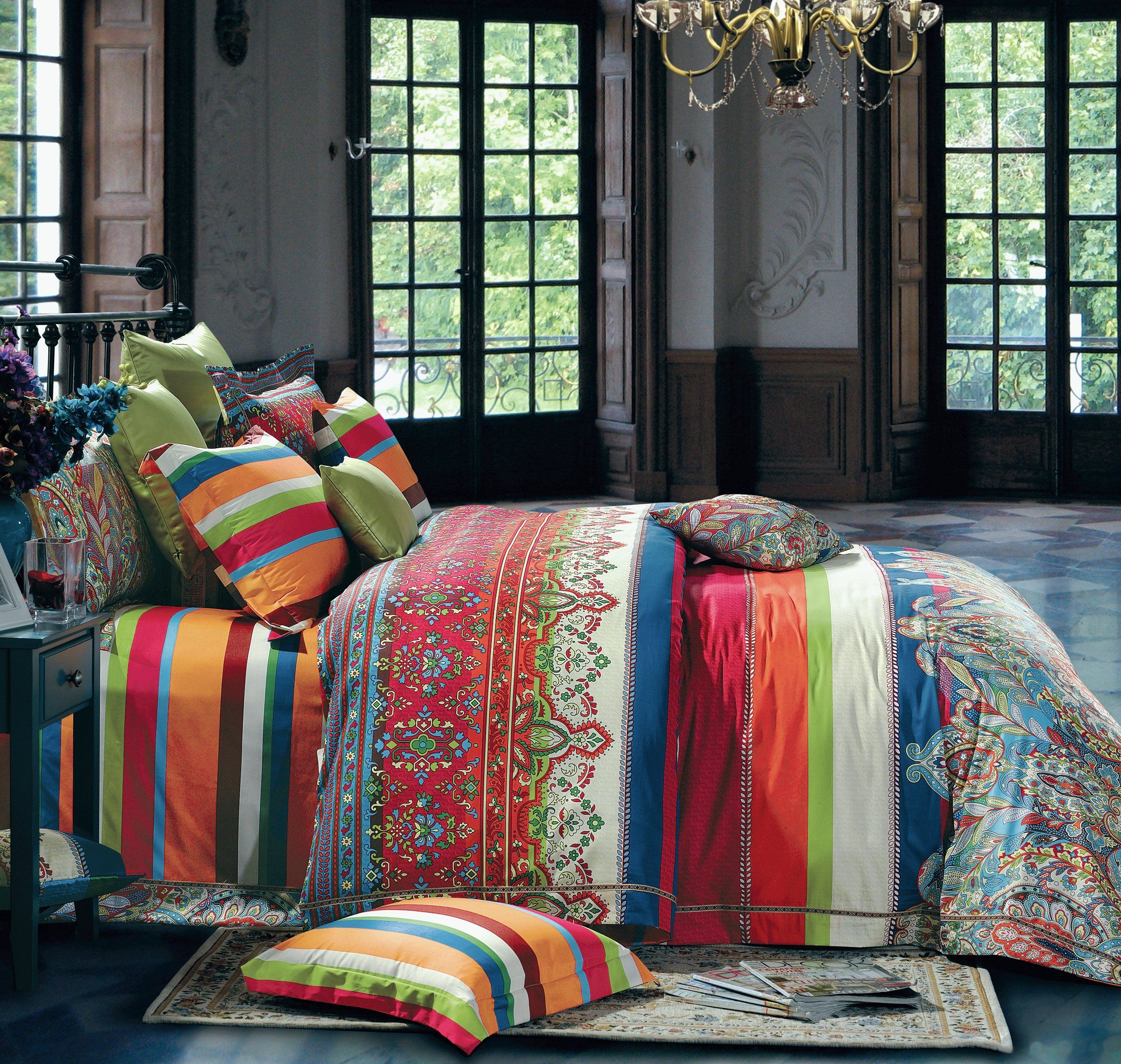 Bohemian Duvet Cover Striped Ethnic Boho Reversible Paisley Pattern
