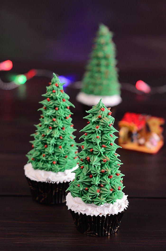 Qué cosa tan dulce! Cupcake árbol de Navidad Рецепты Pinterest - cosas de navidad