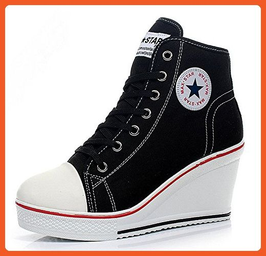 eadf0781189cb Padgene Women's Sneaker High-heeled Fashion Canvas Shoes High Pump ...