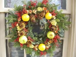 wreaths of real greens and fruit for birds