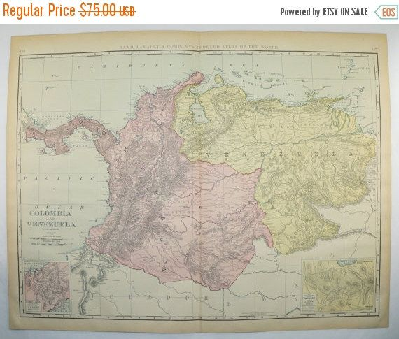 1899 NW South America Map Colombia Venezuela Map Panama Large Map