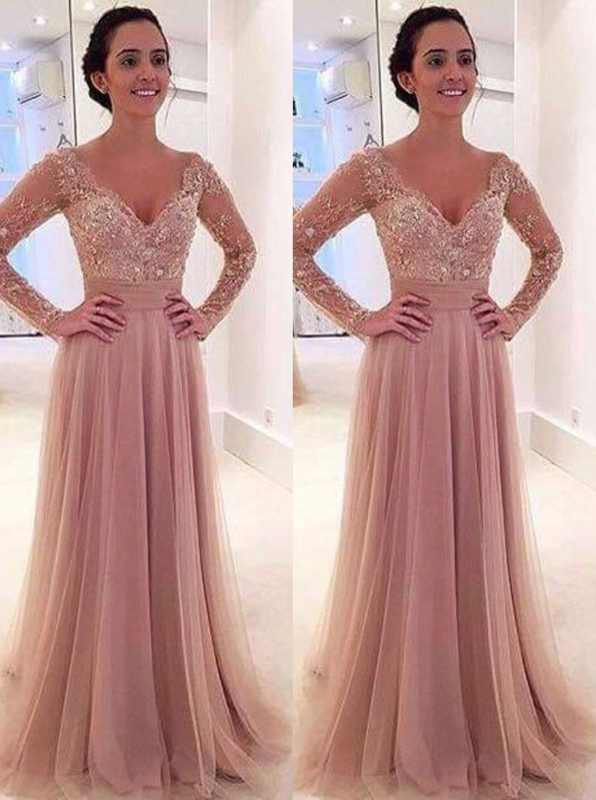 Princess prom dress with sleeves