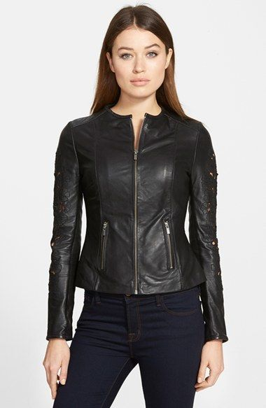 4249e109deb50f $398, Black Leather Bomber Jacket: Lamarque Embroidered Sleeve Leather  Peplum Jacket. Sold by