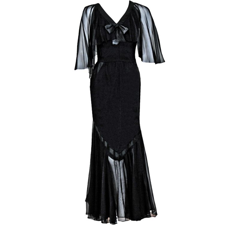 1980's Vintage Chanel Couture Black Silk-Chiffon Flutter-Sleeve Deco Illusion Gown NOW LISTED!