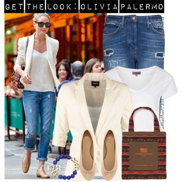 Get the look of Olivia Palermo in ripped boyfriend jeans + white blazer. Visit www.forarealwoman.com   #celebrities #blazer #flats