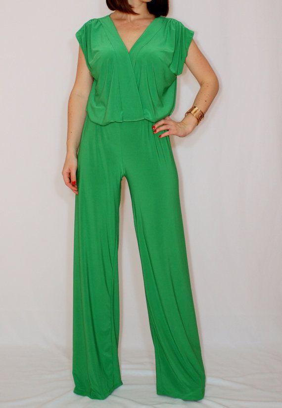 3b428e92fe50 Bright green jumpsuit Sleeveless jumpsuits women Wrap by dresslike ...
