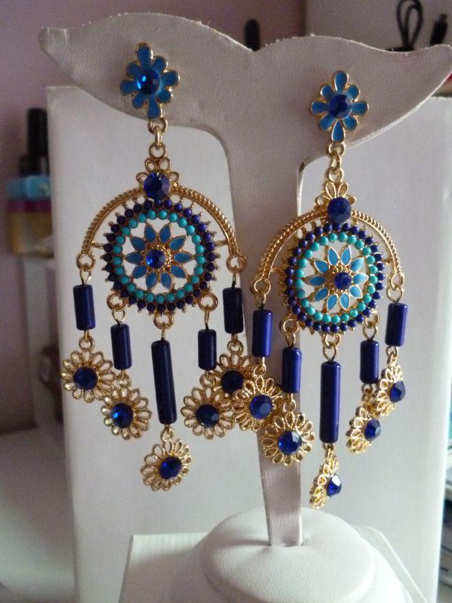 ULTIMI PEZZI  Orecchini pendenti blu elettrico etnico moda