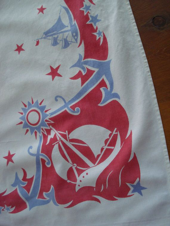Elegant Vintage 1950s Cotton Tablecloth Square Nautical Tablecloth 2013376