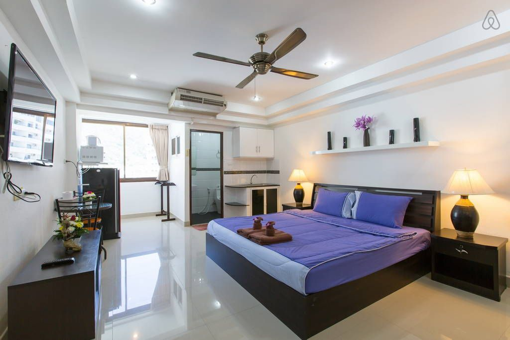 Apartment in Patong, Thailand. Air-conditioned apartment boast a kitchenette. Other amenities include a cable TV, a DVD player and a seating area. An en suite bathroom comes with free toiletries and a hairdryer.  Air-conditioned studio apartment boast a kitchenette with microwa...