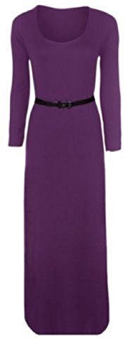 Womens Belted Long Sleeve Plain Stretch Maxi Dress Jersey Plus Size Maxi 2022 Purple ** Check this awesome product by going to the link at the image.