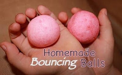 EASY HOMEMADE BOUNCING BALLS    What kid doesn't LOVE playing with bouncy balls?  For years, I have seen this simple recipe floating around the web,  never really paying much attention to it....until now.    My girls, like most kids, have a gazillion balls at home.  What is it about them that is so enticing?    When I asked the Lil Divas if they'd