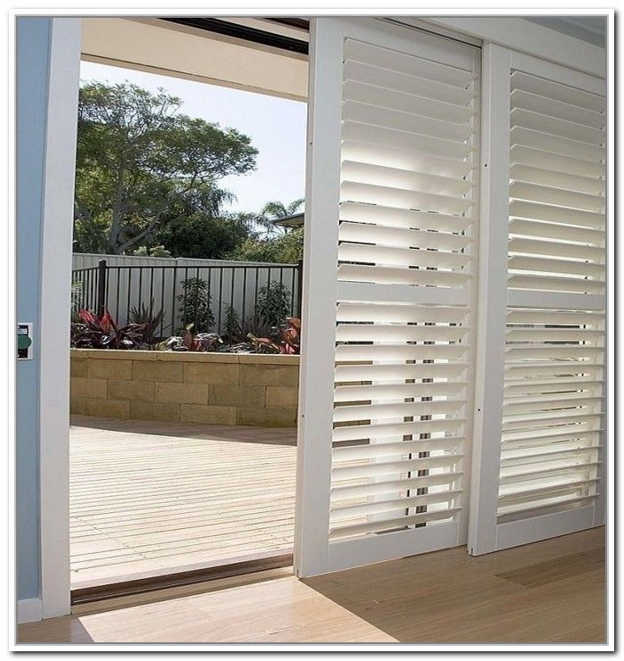 Opt for shutters for sliding doors sliding glass door for Wood doors and shutters