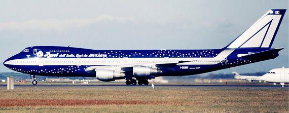 Baci Perugina livery on Alitalia Boeing 747 aircraft (1997)
