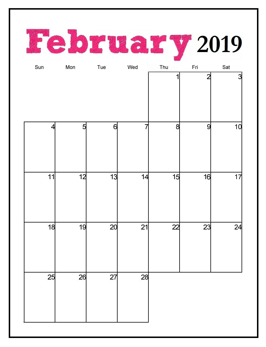 Vertical 2019 February Calendar Printable Printable February 2019 Vertical Calendar | MaxCalendars | Monthly