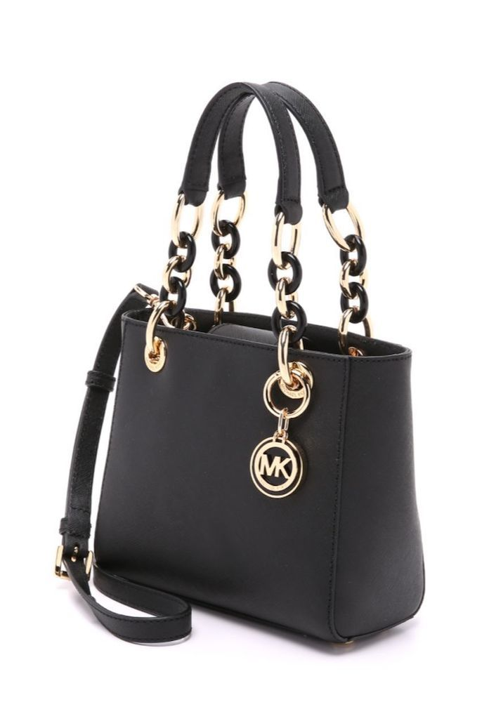 483b3a1f85eb nwot MICHAEL KORS Cynthia Small Satchel Black Saffiano Leather Gold  Hardware  MichaelKors  Satchel