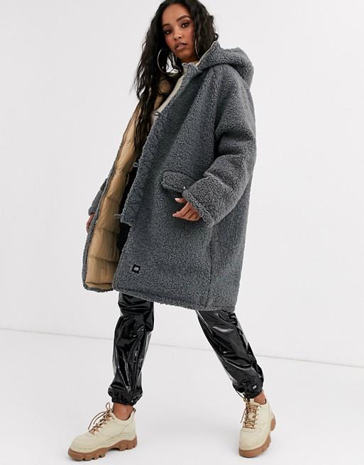 Asos Black Trench Coat Long Puffer Jacket Teddy Bear Fur