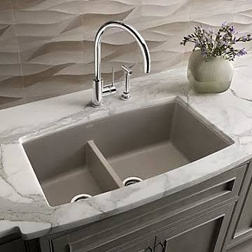 Blanco Performa 33u0027u0027 x 19u0027u0027 Silgranit II 1.75 Double Bowl Undermount Kitchen Sink; Truffle Brown & Blanco Performa 33u0027u0027 x 19u0027u0027 Silgranit II 1.75 Double Bowl Undermount ...