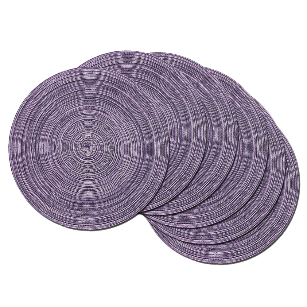 Amazon Com Shacos Round Table Placemats Set Of 6 Round Placemats Fabric Table Mats For Wedding Party Lig In 2020 Purple Placemats Placemats For Round Table Placemats