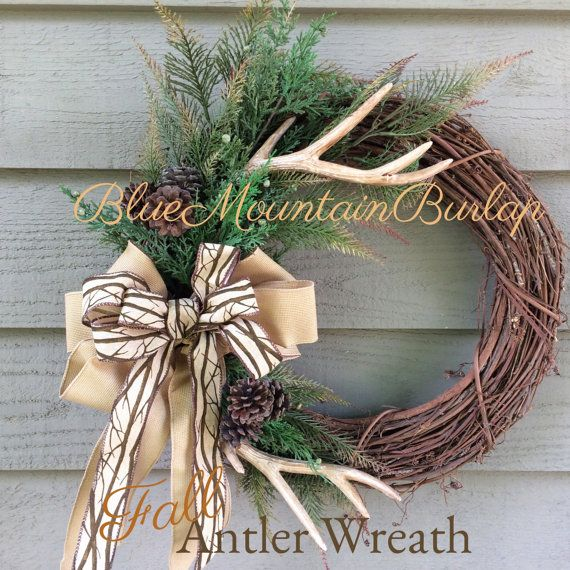 The Antler Hunting Grapevine Wreath Fall Front Door Rustic Lodge