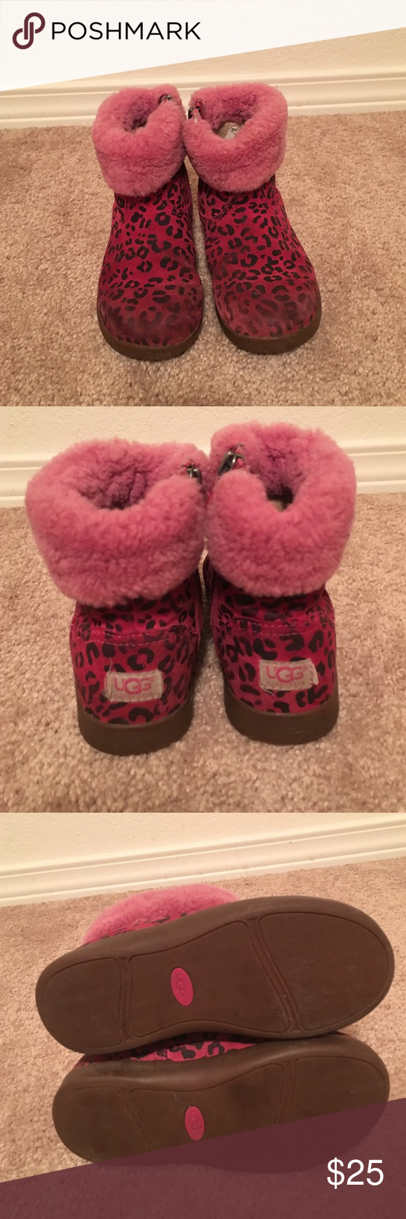 UGG Boots! UGG Boots!   Toddler girls.  Hot pink with black spots.  These have been well love but have a lot of life left to give!   Zippers work. No holes but lots of staining. See pics for more detail make me an offer! UGG Shoes Boots