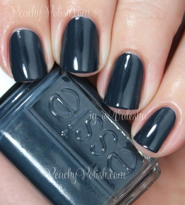 "Blue Grey Nail Polish Essie: Essie ""Mind Your Mittens"" Is A Dark, Dark Blue Toned Teal"