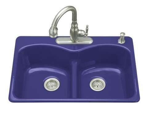 Kohler K 6626 4 30 Langlade Smart Divide Self Kitchen Sink In Iron Cobalt