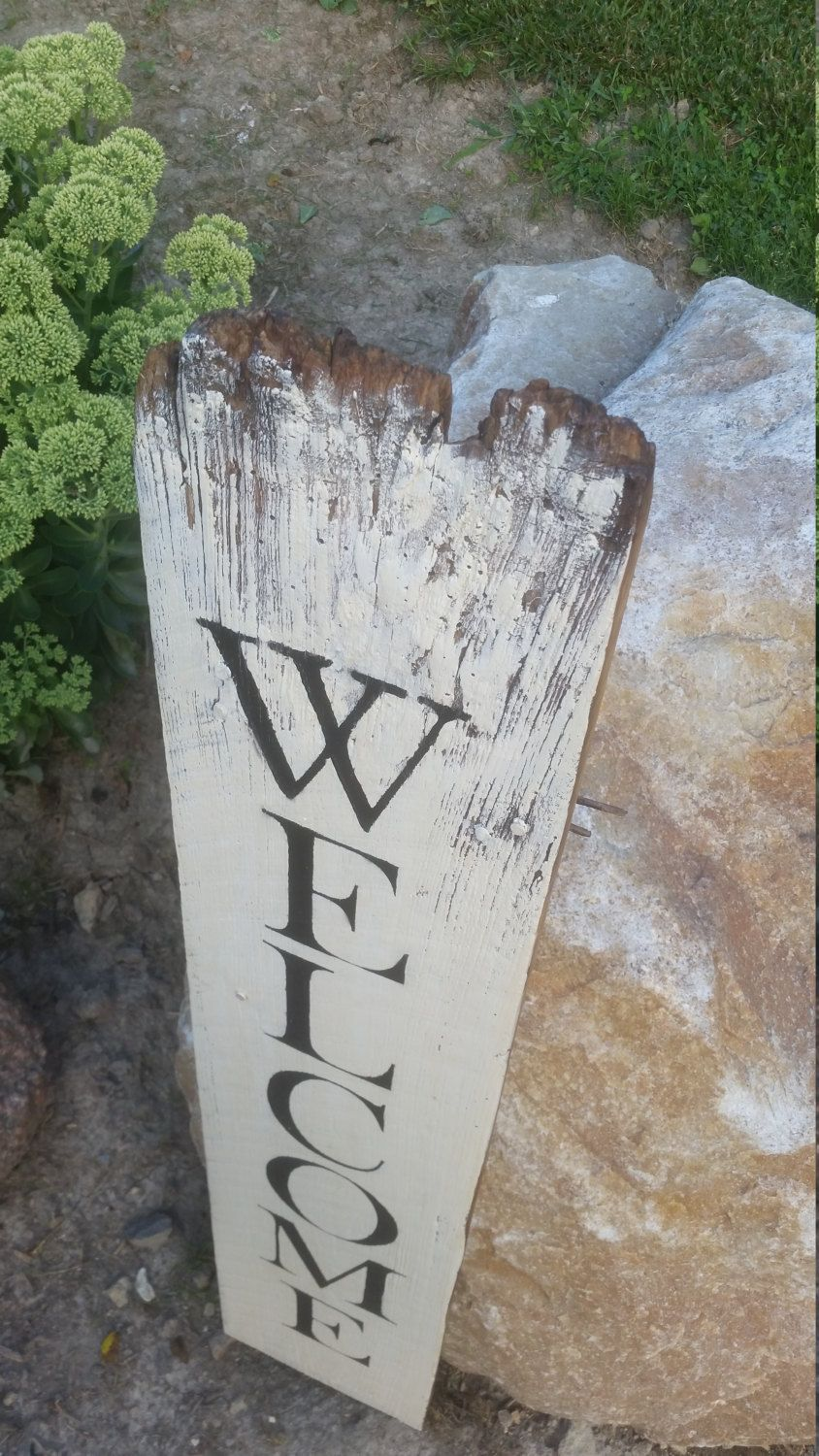 Tall Welcome Sign on Reclaimed Barn Wood (8.5\