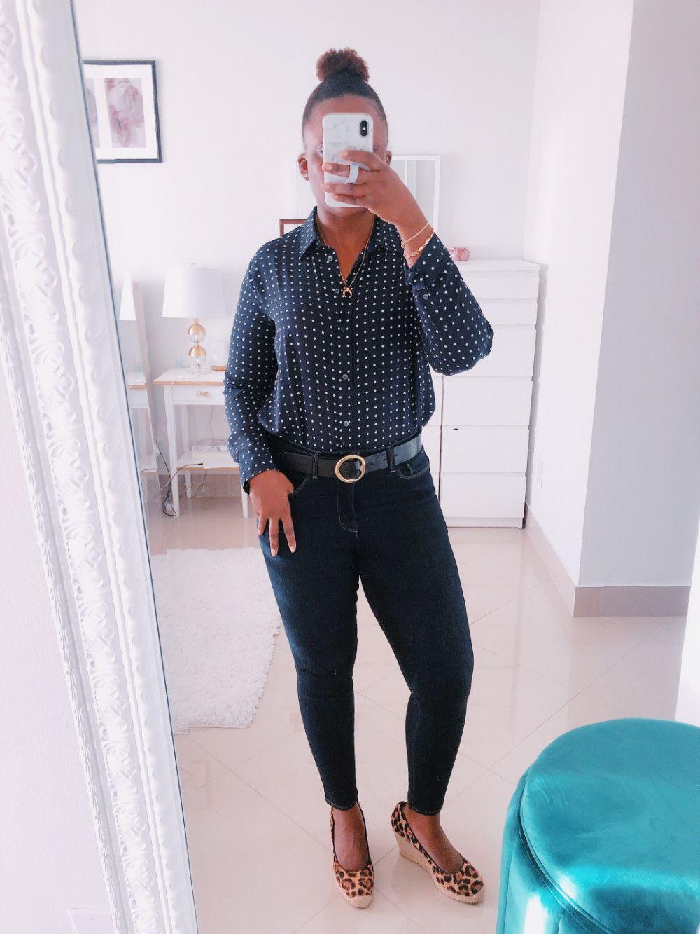 5d5955278 work outfit banana republic polka dots shirt L'agence Fashion Jeans J.Crew  leopard espadrilles