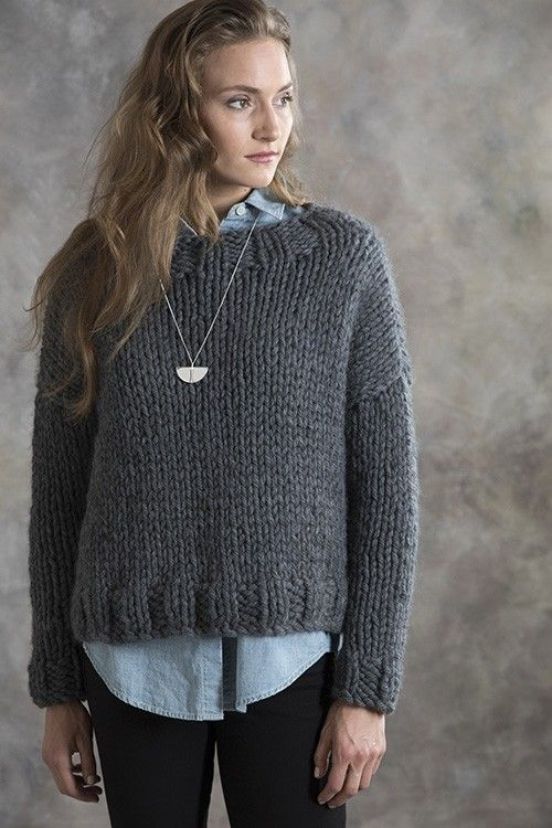 76f40ed049c0 Knit a basic drop-shoulder sweater that goes with everything! The Ebony  Pullover by Rosemary Drysdale features simple shapes and knits up quickly  on size 19 ...