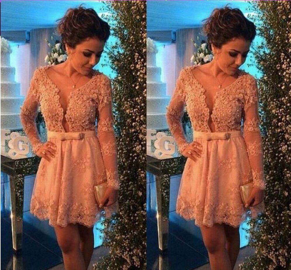 Short prom dresscharming prom dresseslong sleeves prom dress