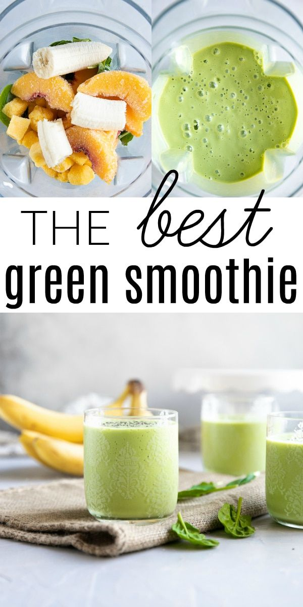 Mango Peach Green Smoothie Recipe - The Forked Spoon