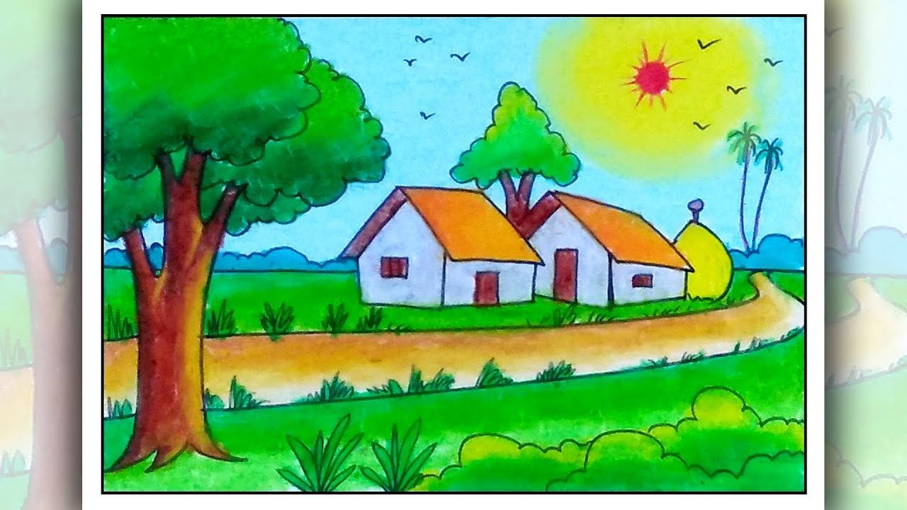 How To Draw A Village Easy Simple Scenery Drawing For Kids