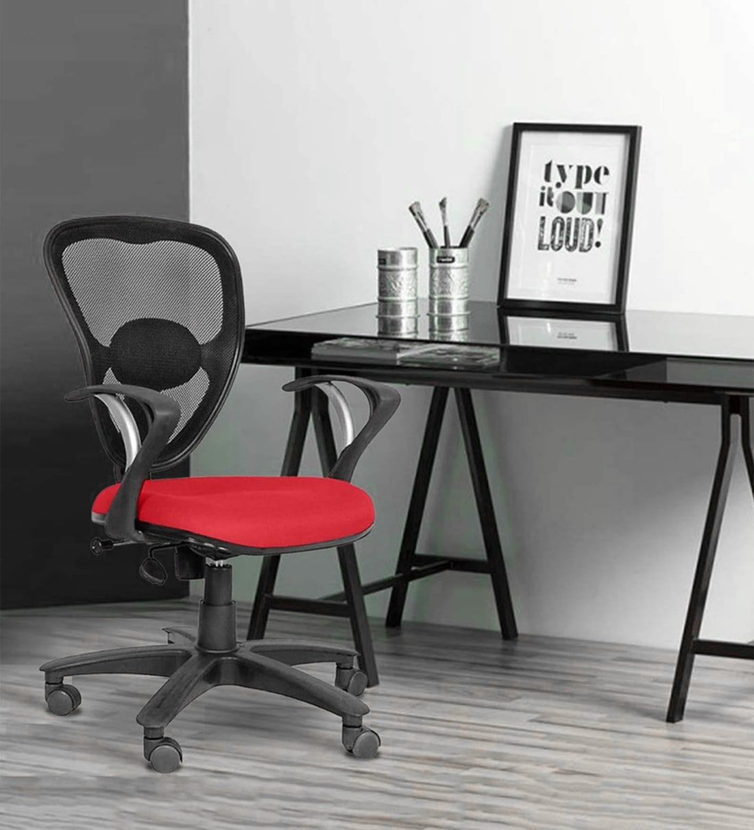 Buy Triangular Ergonomic Chair in Black & Blue Colour by