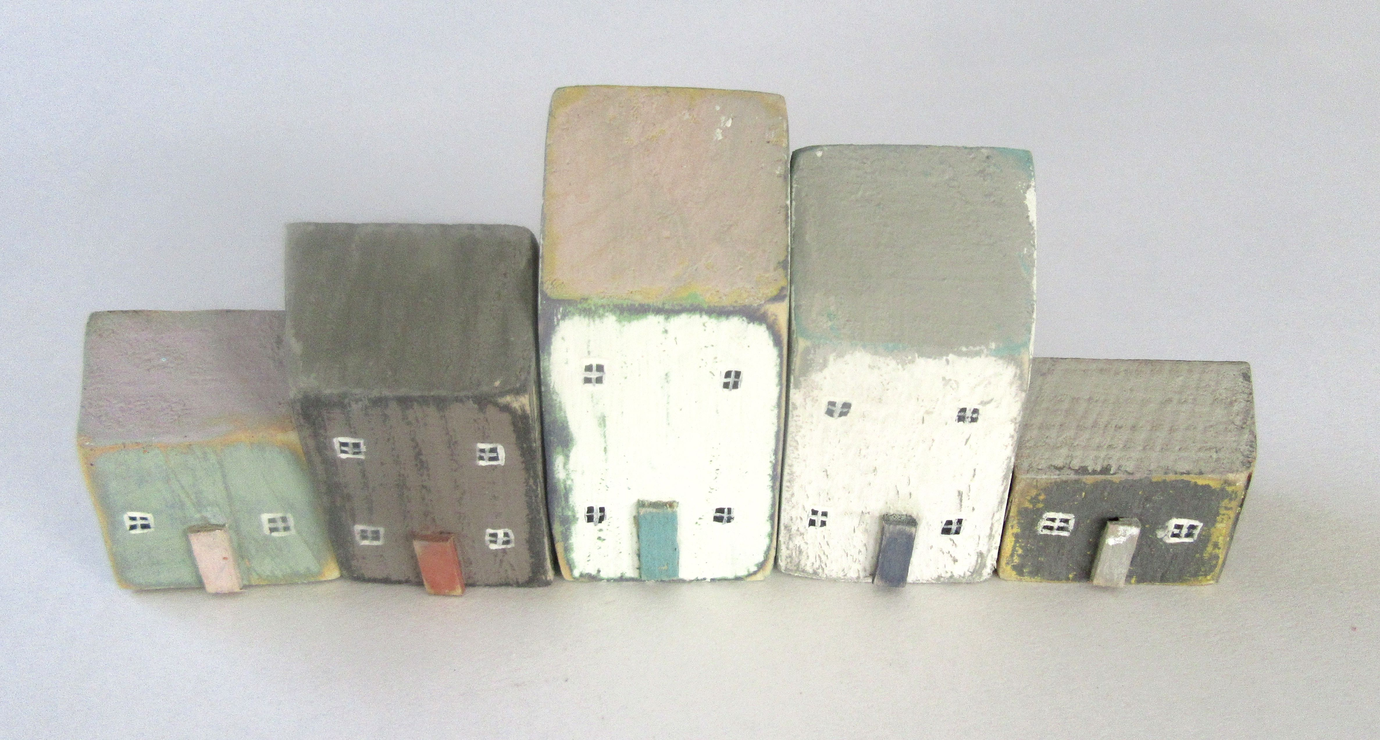 using recycled wood  custom order for a set of five houses made by Kittiwake Design Scottish Borders
